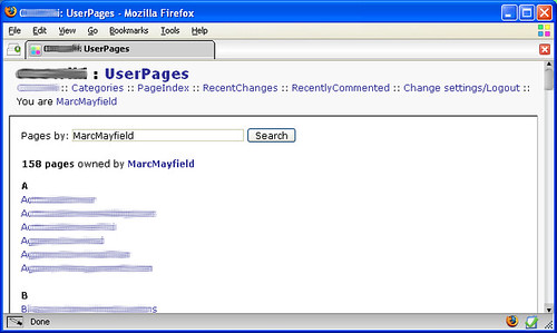 User Pages Screenshot