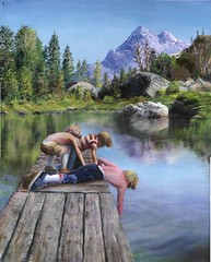 """3 boys on a dock"" - by Les Bryant 2007 (lesbryant2) Tags: trees boy shirtless mountain lake art love water childhood kids youth reflections painting children wonder landscape freedom dock rocks artist child memories 100v10f adventure innocence myart nostalgic handcrafted popular myartwork oilpainting oiloncanvas boysbeingboys artworkthemethememoriesofchildhoodneverfade"