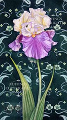 Cream and Purple Iris on Green, Print by Elizabeth Ruffing