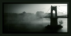MORNING BRIDGE (Sebastien LABAN) Tags: morning bridge lake water rain fog contrast river evening bravo perfect glow photographer dust rhone the abigfave topofthefog theperfectphotographer