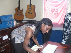 Signing the guestbook in Lunga Lunga
