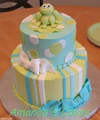 Froggie Baby Cake (mandotts) Tags: blue green teal stripes frog polkadots babyshower babyboy froggie fondant buttercream tieredcake babycake
