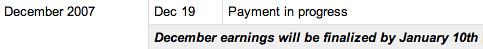 December AdSense Payment