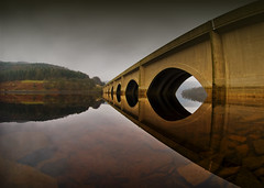 Ladybower Viaduct (Paul M. Robinson) Tags: bridge reflection water geotagged nikon d70 derbyshire peakdistrict reservoir viaduct fisheye 105 ladybower geo:lat=53374874 geo:lon=1713293