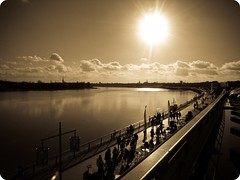 Walking to the sun (Blackhybride) Tags: light sun france water port walking soleil photo eau weekend lumire bordeaux promenade soldes firstquality 10faves hbw 25faves wideboys towardthesun 45faves diamondclassphotographer flickrdiamond excellentphotographerawards grdigital2 grdigitalii grdii ricohgrdigital2 llovemypic