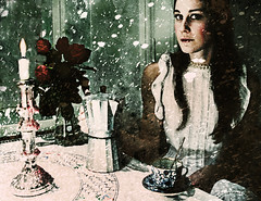 """inside out"" (Stefan Sderstrm) Tags: china light red roses portrait snow cold texture weather fairytale table mood caroline veranda 07 candlestick snowglobe koffee moccapot"
