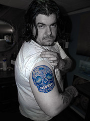 2008 (KCrlni) Tags: blue art shop tattoo ink skull artwork jake arm skin roommates professional 2008 tat housemate tattooshop tattooing tatt tattooed andysart tattoing jakesarm eastcide