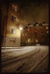 Just around the corner (Kaj Bjurman) Tags: winter light snow architecture night eos sweden stockholm sverige bergen 2008 sn hdr kaj rda vasastan cs3 photomatix 40d impressedbeauty bjurman