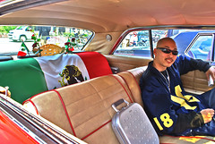 On the Mexican Influence in Hirakata (aurelio.asiain) Tags: blue red portrait people white green face look car japan youth photoshop mexico persona cool mix retrato flag cara identity  taste chrysler kansai youngster lowrider ways badtaste sideways  hirakata crosscultural  jappan  aurelioasiain aplusphoto ionushi chicanopower  margendelyodo padrotn sidebacks secuenciadecincuenta
