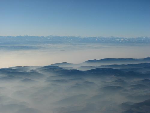 Alps scenery in fog