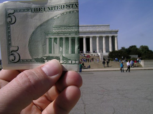 Lincoln Memorial and $5