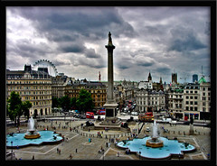 Trafalgar Square (Womble67) Tags: bus london westminster central trafalgarsquare londoneye bigben panoramic tourists lions fountains nelsonscolumn nationalportraitgallery 5photosaday