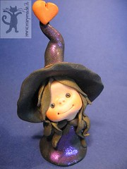 Witch? Which Witch? (marytempesta) Tags: black sparkles happy pretty purple handmade witch crafts polymerclay womancraft