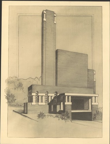 Perspective view of incinerator, Thebarton, South Australia, ca. 1937