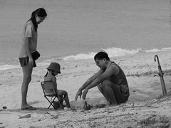 Family Time (Trim Reaper) Tags: family bw canon parents seaside time daughter powershot eastcoast s5is