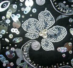 Detail silver symphony 2 (Karen Cattoire) Tags: original blackandwhite abstract art handmade embroidery originalart creation fabric fiberart beading textileart tissu abstrait textiledart karencattoire fibretextile arttexilte