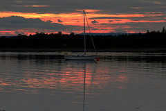 Findhorn Bay (Ian Lambert) Tags: uk sea sun water set bay scotland boat ship tide soe findhorn totalphoto mywinners abigfave landscapesdreams vanagram