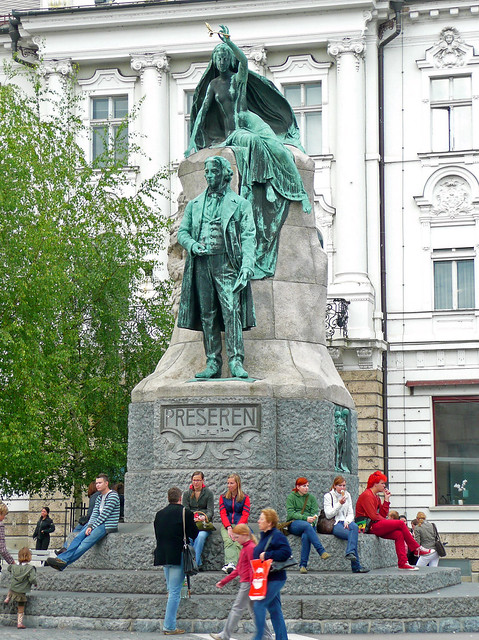 Statue in Prešeren Square, Ljubljana. Photo by NataschaM on Flickr