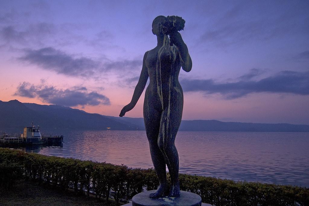 Statue and sunset, Lake Toya, Hokkaido