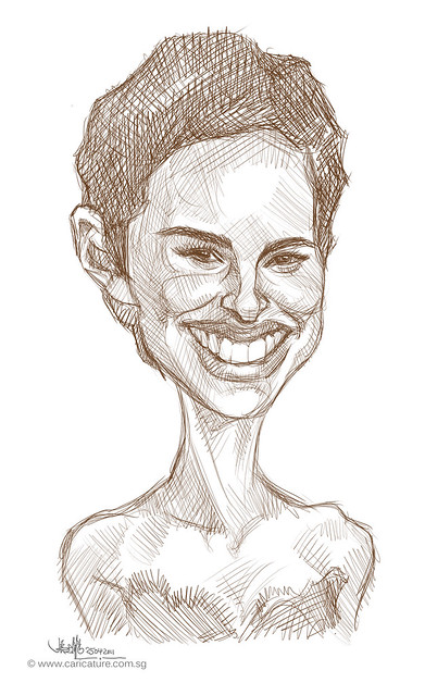 digital caricature sketch of Natalie Portman - 1