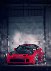 John's Static 350z (Evano Gucciardo) Tags: lighting red japan fog photoshop work nikon nissan smoke garage chrome demon rps tuner aggressive 350z strobe offset stance spacer camber z33 wescott vsxx
