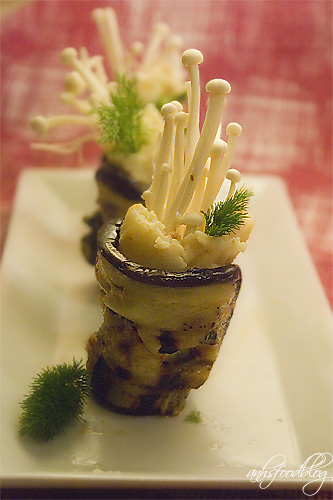 Eggplant roll with spiced potato & enoki