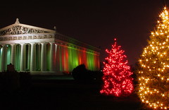 Christmas at Centennial Park #8:  Parthenon and 2 trees
