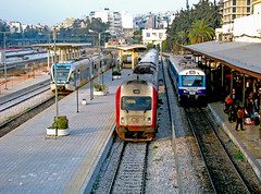 Three trains (Dimitris G.) Tags: man station train hellas athens greece gtw  ose aeg dmu railbus  stadler