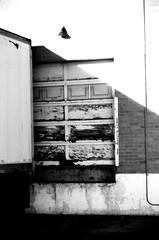 Loading Dock (taekwondogirl) Tags: urban blackandwhite lamp truck dock downtown bell denver load rundown unload