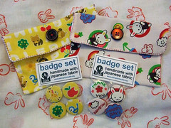 Fabric purses and badge sets
