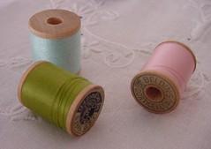 spools of thread (ivoryblushroses) Tags: thread spools wooden