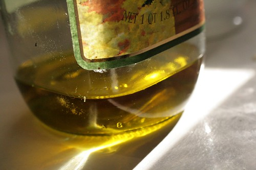 Olive oil in morning light