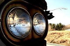 Headlights (Dustin C) Tags: old abandoned car digital rural truck canon rebel xt nc rust north carolina dodge rebelxt boone tow towtruck