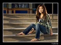 Lynn (jkman720) Tags: flowers woman santacruz beach girl pose asian japanese model chinese jeans boardwalk impromptu goldenhour ucsc strobist