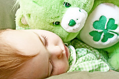 Shamrock-a-bye (boopsie.daisy) Tags: sleeping baby green perfect pretty nap lashes fuzzy sweet gorgeous adorable sadie precious carebear asleep clover angelic shamrock soe stpatricksday 18months 4leafclover slumbering wishbear anawesomeshot superbmasterpiece