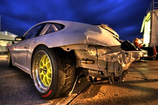 Sebring Night Paddock - Damaged GT3 Cup car 003.jpg