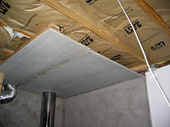 fire proof ceiling over the basement wood burner