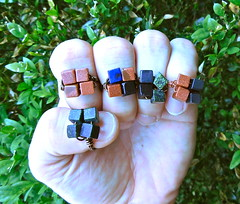 4 Square Cubic Rings (JustinGeer) Tags: justin summer orange black green yellow stone glitter dark square four gold jasper turquoise small olive jewelry jade midnight cube hunter block onyx goldstone geer sparlking