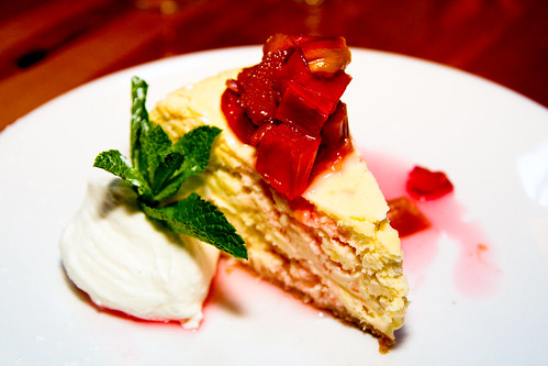 Lemon Coconut Cheesecake with Rhubarb Compote at Chez Piggy