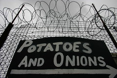 Potatoes, Onions and Barbed Wire (new folder) Tags: sign potatoes birmingham onions potato barbedwire birminghamuk smethwick rightarrow rolfest