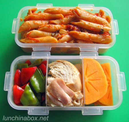 Mother & son bento lunches with pasta