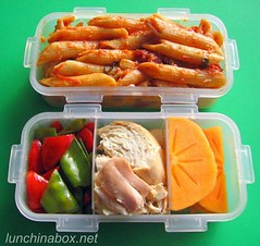 Pasta & persimmon bento lunch (Biggie*) Tags: food chicken lunch box pasta bento persimmon penne bellpepper packedlunch boxlunch bentobox snowpeas schoollunch biggie roastchicken brownbag lunchinabox redbellpepper sacklunch bentolunch bentoblog bentoboxlunch ssbiggie lunchinaboxnet costcoroastchicken twittermoms