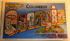 Greetings from Columbus Georgia postcard (Smaddy) Tags: blue columbus tree lady ga georgia 1930s linen postcard 1938 peach 1940s font belle 1942 bigletter greetingsfrom largeletter curtteich ctartcolortone