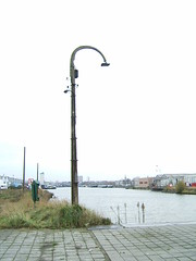 Old lighting post in Antwerp port area