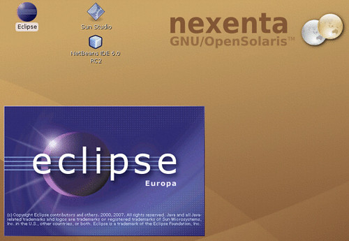 The Europa splash-screen on nexenta solaris-gtk-x86.