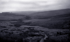 View from Top Withens (jones-y-gog) Tags: bw yorkshire bleak moors toned harsh bronte haworth expanse withens