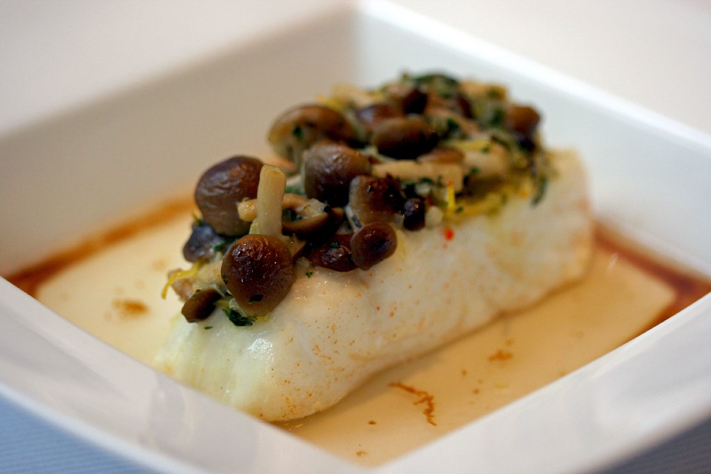 Halibut steamed with Honshimeji Mushrooms and Lemongrass Consommé