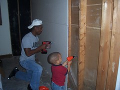 Like Father Like Son (csskclark) Tags: home drywall children construction dad father working son parent american myson renovation likefatherlikeson allamerican drilling homeconstruction