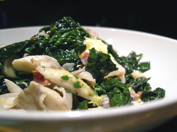 ... egg: GARDENING AT NIGHT: KALE AND OYSTER MUSHROOMS WITH CREAMY POLENTA