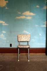 Outside-In (k.james) Tags: wallpaper sky clouds vintage carpet outside spring chair antique empty vinyl dirty chrome despair lonely decal thisoldhouse outlet playdate kenthenderson top20chair